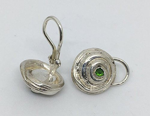 Chrome Gem Gem - Clip On Sterling Silver Earrings with Green Chrome Diopside Gems