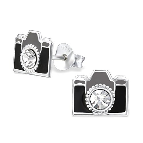 Price comparison product image 925 Sterling Silver Hypoallergenic Camera w/ Crystal Stud Earrings for Women or Girls 30934