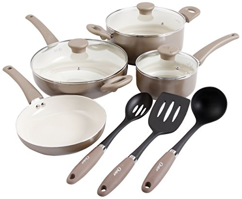 Oster 92164.10 Wennington 10-Piece Cookware Set, Multi-Size, Champagne
