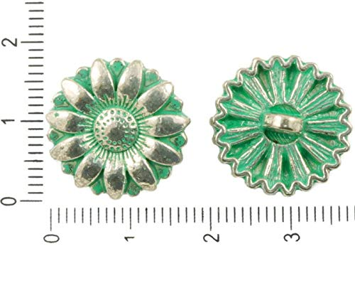 6pcs Antique Silver Tone Turquoise Green Patina Wash Daisy Flower Shank Button Clasps Round Beads Charms Bohemian Metal Findings 18mm x 8mm Designer Metal Shank Buttons