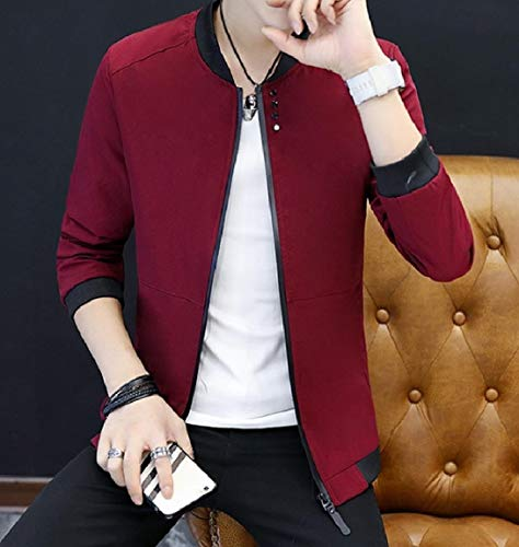 Tasche Basamento Rosso Colorato Con Up Mogogomen Del Collare Cerniera Outwear Solida Hp5w8xRq