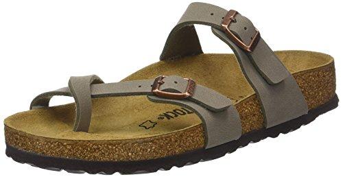 (Birkenstock Women's Mayari Adjustable Toe Loop Cork Footbed Sandal Stone 41 M EU)