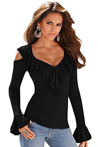 Nuovo Ladies, colore: nero con Cold Shoulder maglietta a maniche lunghe Club wear Tops Casual Vestiti Taglia M (UK 10–12EU 38–40