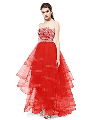 Dresstells®Vestido De Fiesta Alto-Bajo Mujer Organdí Escote Corazón Con Cuentas Rojo