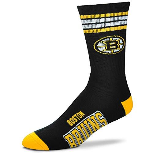 For Bare Feet NHL 4 Stripe Deuce Crew Men Socks-Boston Bruins-Large (10-13)