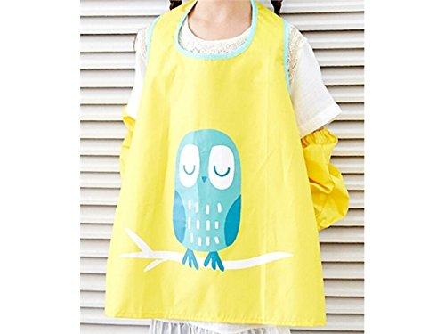 Gelaiken Perfect Cartoon Kid Waterproof Oil-Proof Animal Owl Printed Apron Girl Boy Two Arm Sleeves(Yellow,Size:L)
