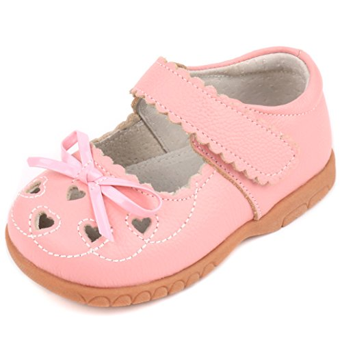 Femizee Girls Leather Bows Design Soft Round Toe Princess Dress Mary Jane Flat Shoes(Toddler/Little Kid),Pink,1505 CN32 -
