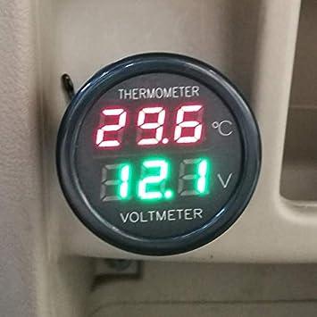 2in1 LED Dual Display Digital voltmeter Thermometer 12v 24v car voltage temp