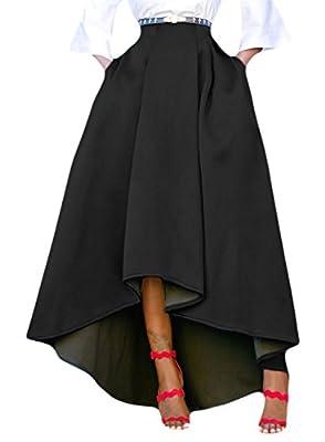 Acelitt Women Casual Asymmetric High-Low High Waist Pleated Hem Maxi Prom Skirt
