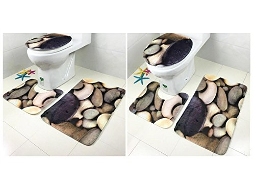 Hezon 3PCS Colored Stones Bathroom Set Toilet Mat Toilet Cover Non-slip Mat EASY TO USE by Hezon (Image #4)