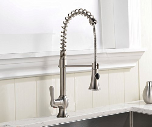Ufaucet Modern Brushed Nickel Single Lever Single Handle Pull Out Spiral Ktchen Sink Faucets,No deck plate