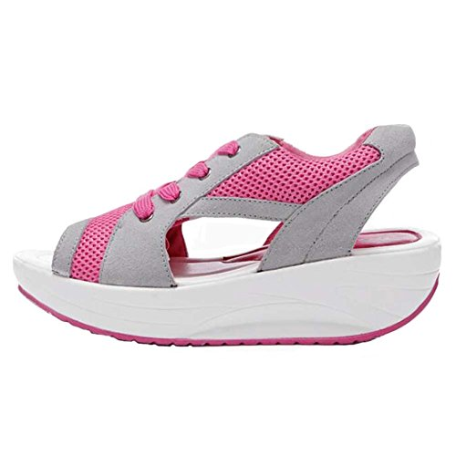 Angelliu Femmes Casual Peep Toe Chaussures De Sport Actives Maille Plate-forme De Fitness Sandales Rose