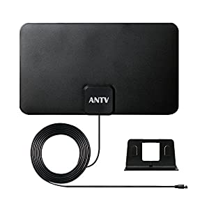 ANTV 25 Miles Indoor HDTV Antenna with 10ft High Performance Coaxial Cable, Ultra-Thin Antenna