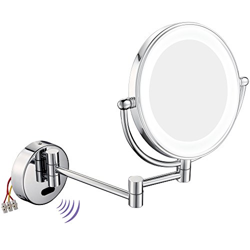 GURUN 8.5 Inch LED Lighted Wall Mount Makeup Mirror with 7x Magnification,hard wire,Chrome Finish (1803D,Sensor-Activated)