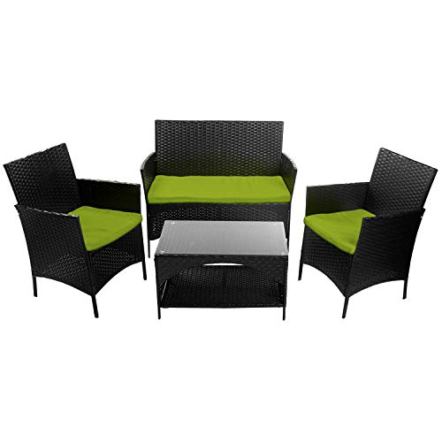 (Leisure Zone 4 PCS Patio Furniture Outdoor Garden Conversation Wicker Sofa Set, Green Cushions )