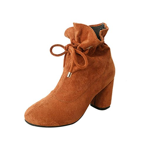 Voberry Stiefel, Damen Spring Casual Stiefel Outdoor Lace-Up Square Heel Knöchel Schuhe Braun