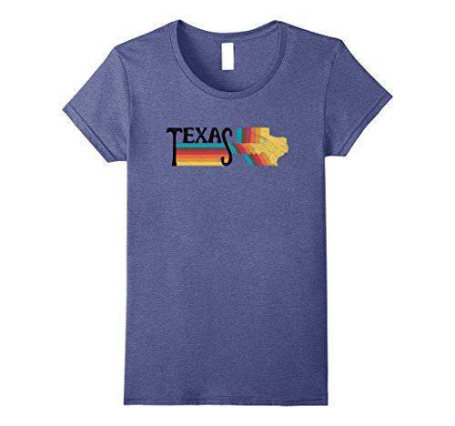 70s And 80s Style (Womens RETRO 70s 80s STYLE TEXAS Rainbow Silhouette TShirt Small Heather Blue)