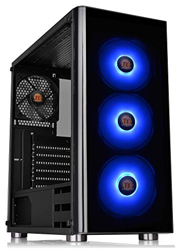 Thermaltake V200 Tempered Glass RGB Edition 12V MB Sync Capable ATX Mid-Tower Chassis with 3 120mm 12V RGB Fan + 1 Black 120mm Rear Fan Pre-Installed CA-1K8-00M1WN-01 (Best Gaming Computer Under 100)