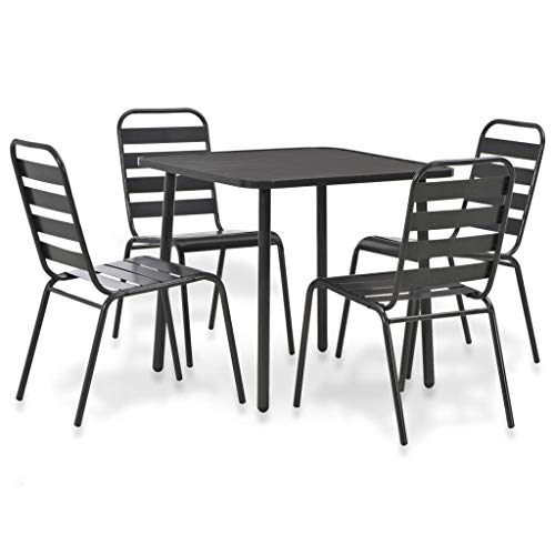 (Festnight 5 Piece Outdoor Bistro Set Powder-Coated Steel Table with 4 Slatted Design Stacking Chairs Dining Set Breakfast Kitchen Bar Pub Garden Backyard Patio Indoor Outdoor Furniture)