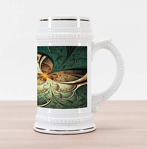 Ambesonne Fractal Beer Stein Mug, Computer Art Featured Surreal Flowers Dreamy Imaginary Creative Concept, Traditional Style Decorative Printed Ceramic Large Beer Mug Stein, Jade Green Orange