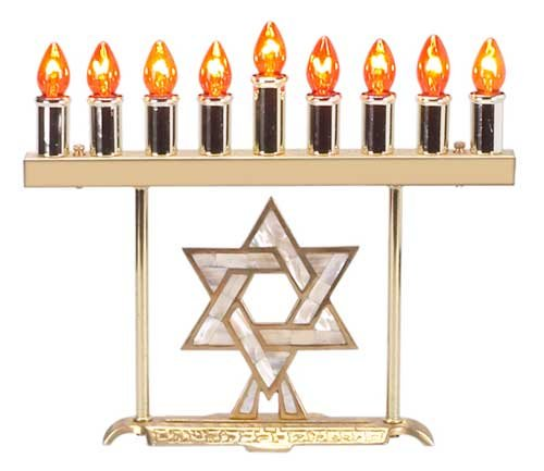 (Solid Brass Electric Menorah - Pearled Star, Bulbs Spare set Bulbs)