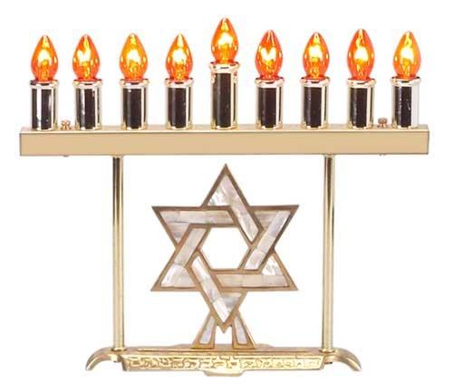 Solid Brass Electric Menorah - Pearled Star, Bulbs Spare set Bulbs