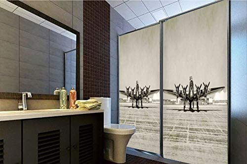 Horrisophie dodo 3D Privacy Window Film No Glue,Airplane Decor,World War II Era Heavy Bomber Front View Old Photo Flying History Takeoff Aeronautics Decorative,70.86