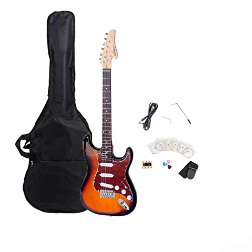 ADM Full Size Standard Strat Electric Guitar Bundle, Sunburst Finish with Metallic Wine Red Celluloid Pickguard