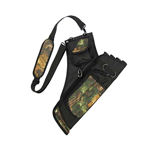 PG1ARCHERY Archery Back Quiver for Arrows, Oxford Arrow Holder with Strap Shoulder Hanged Carry Bag Pouch 4 Tube for Targeting Hunting