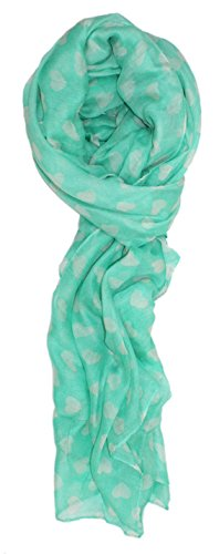 Ted and Jack - Love Is In The Air Heart Print Scarf in Mint