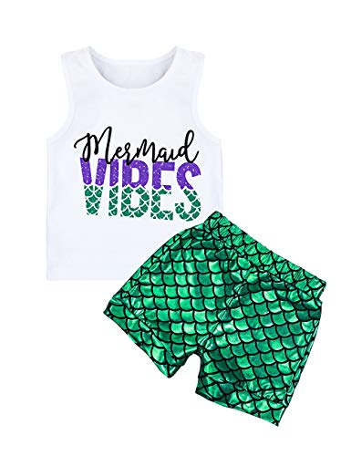 Toddler Baby Girl Outfits Mermaid Vibes Vest + Shiny Fish Scale Shorts Summer Clothes Set White for $<!--$12.99-->