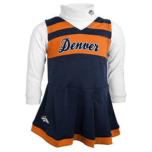 Denver Broncos Toddler 3T Girls Cheerleader Dress & Turtleneck 2 Pc Costume