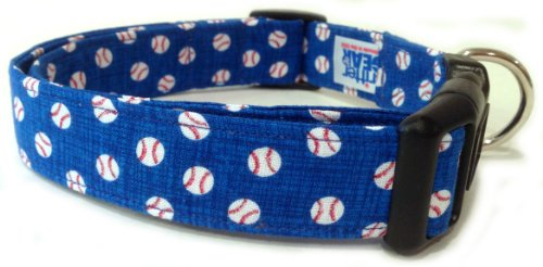 - Adjustable Dog Collar in Blue Baseballs (Handmade in The U.S.A.)