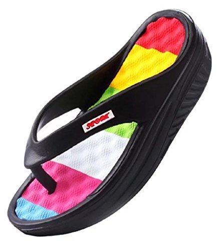 Women's Beach Wedges Platform Massage Thong Slippers Sandals Casual High Heel Flip Flops (8, (Black High Heel Thong)