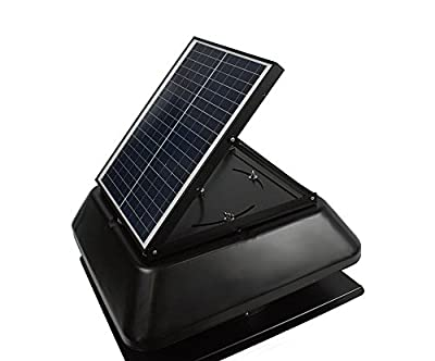20 Watt solar powered adjustable attic exhaust fan - Black - Mighty Max Battery brand product
