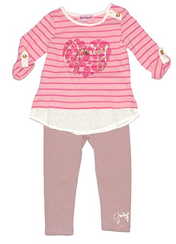 Juicy Couture Pink Heart - Juicy Couture Girls Striped Heart Layered Top Shirt & Pink Leggings Set (6 - 12 Months)