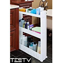 TESTV Gap Storage Slim Slide Out Tower Rack Shelf with Wheels for Laundry, Bathroom & Kitchen 3-tier and 4-tier (3-tier)