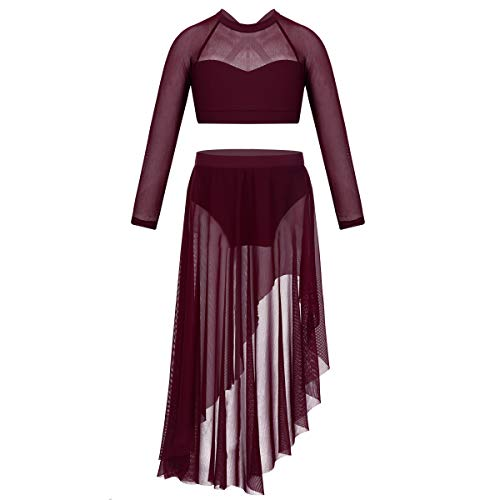 CHICTRY Big Girls' Child Tulle Ruffled Irregular Skirt with Cross-Back Crop Top Lyrical Dance Dress Costumes Burgundy 7-8
