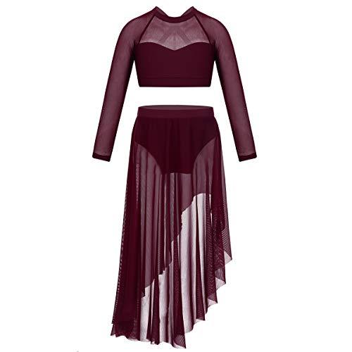 - inlzdz Kids Girls Keyhole Halter Lace Dance Crop Top with Ruffles Bottom Set Lyrical Dance Wear Burgundy Long Sleeve 7-8