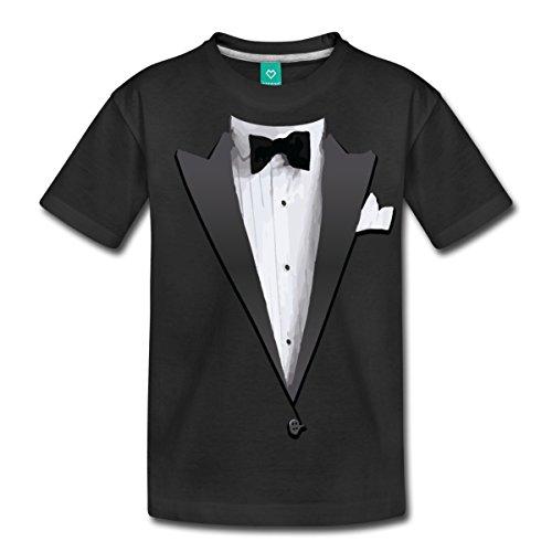 Spreadshirt Tuxedo Jacket Costume Bow Tie Kids' Premium T-Shirt, Youth XS, Black