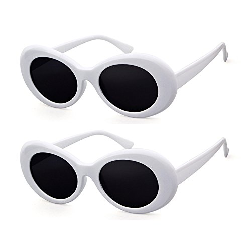 Frame Goggle Accessory - Bold Retro Oval Mod Thick Frame Sunglasses Clout Goggles with Round Lens (2 packs White, 51)