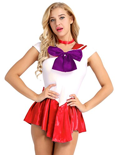 iiniim 2Pcs Women's Sailor Moon Costume Mercury Mars Fancy Dress Halloween Cosplay Outfit Red XXL -