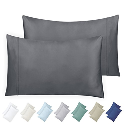 California Design Den 600 Thread Count Pillowcase Set of 2, 100% Long-Staple Combed Cotton, Breathable, Soft Sateen Weave Luxury Hotel Quality Pillow Cases (King, Dark Grey)