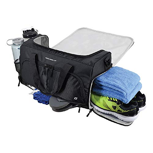 Small Duffle Gym Bag (Ultimate Gym Bag 2.0: The Durable Crowdsource Designed Duffel Bag with 10 Optimal Compartments Including Water Resistant Pouch (Black, Medium)