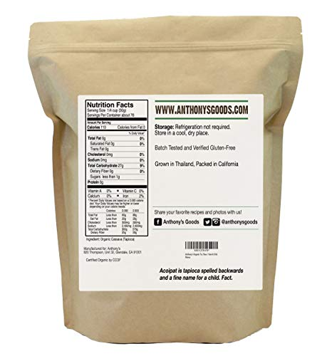 Organic Tapioca Flour / Starch (5 Pounds) by Anthony's, Gluten-Free & Non-GMO by Anthony's (Image #1)