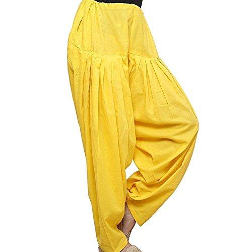 Indian Women Cotton Salwar Ethnic Adjustable Bottom Wear Solid Readymade Yoga Trouser Pants (Yellow) (Trouser Kameez)
