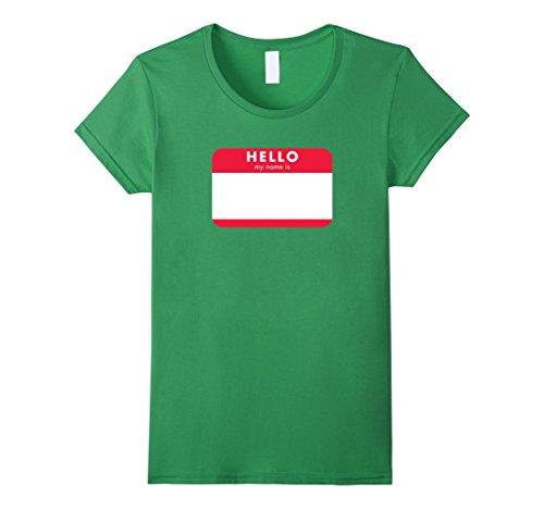 Womens DIY Halloween Costume Shirt - Oversize Blank Name Tag XL Grass -