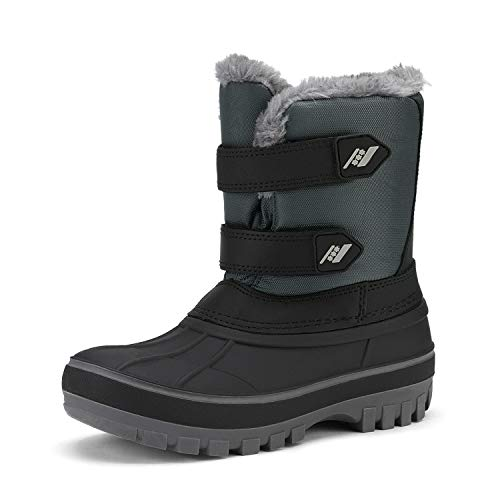 DREAM PAIRS Big Kid Ducko Black Grey Ankle Winter Snow Boots Size 4 M US Big Kid from DREAM PAIRS