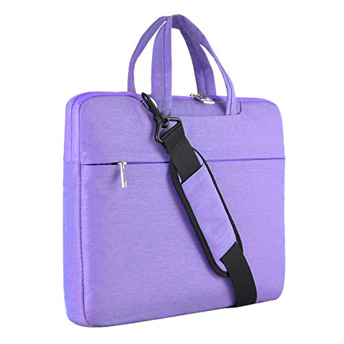 (Laptop Shoulder Bag, HESTECH 15.6 Laptop Case Sleeve Business Messenger Briefcase Carrying Handbag for Women Men Fits 15-15.6 Inch Dell HP Acer Lenovo Chromebook Ultrabook MacBook Pro,Purple )