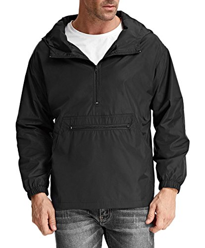 PAUL JONES Men#039s Stylish Hooded Long Sleeve Waterproof Rain Coat Size S Black